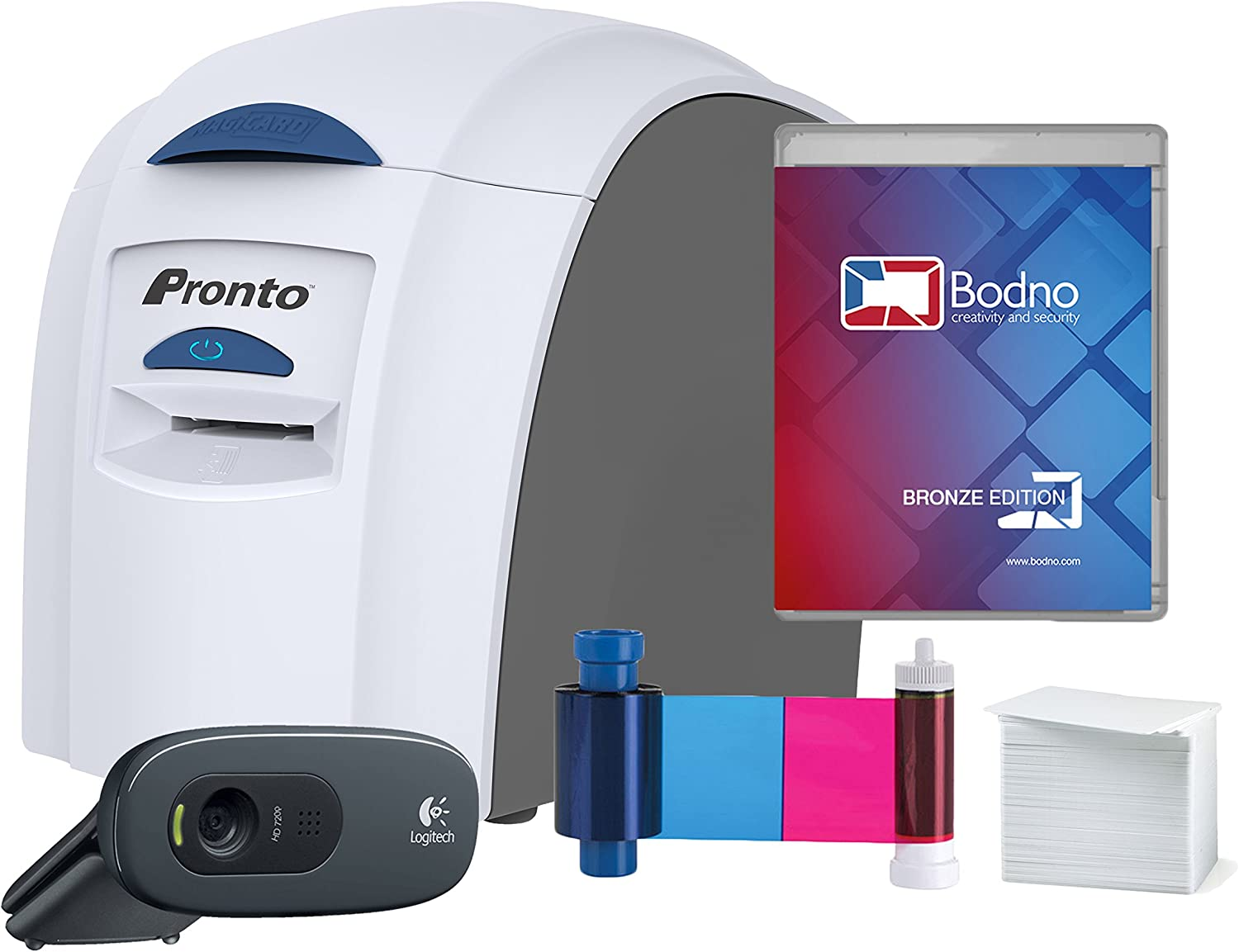 Magicard Pronto ID Card Printer & Complete Supplies Package with Bodno ID Software and Camera