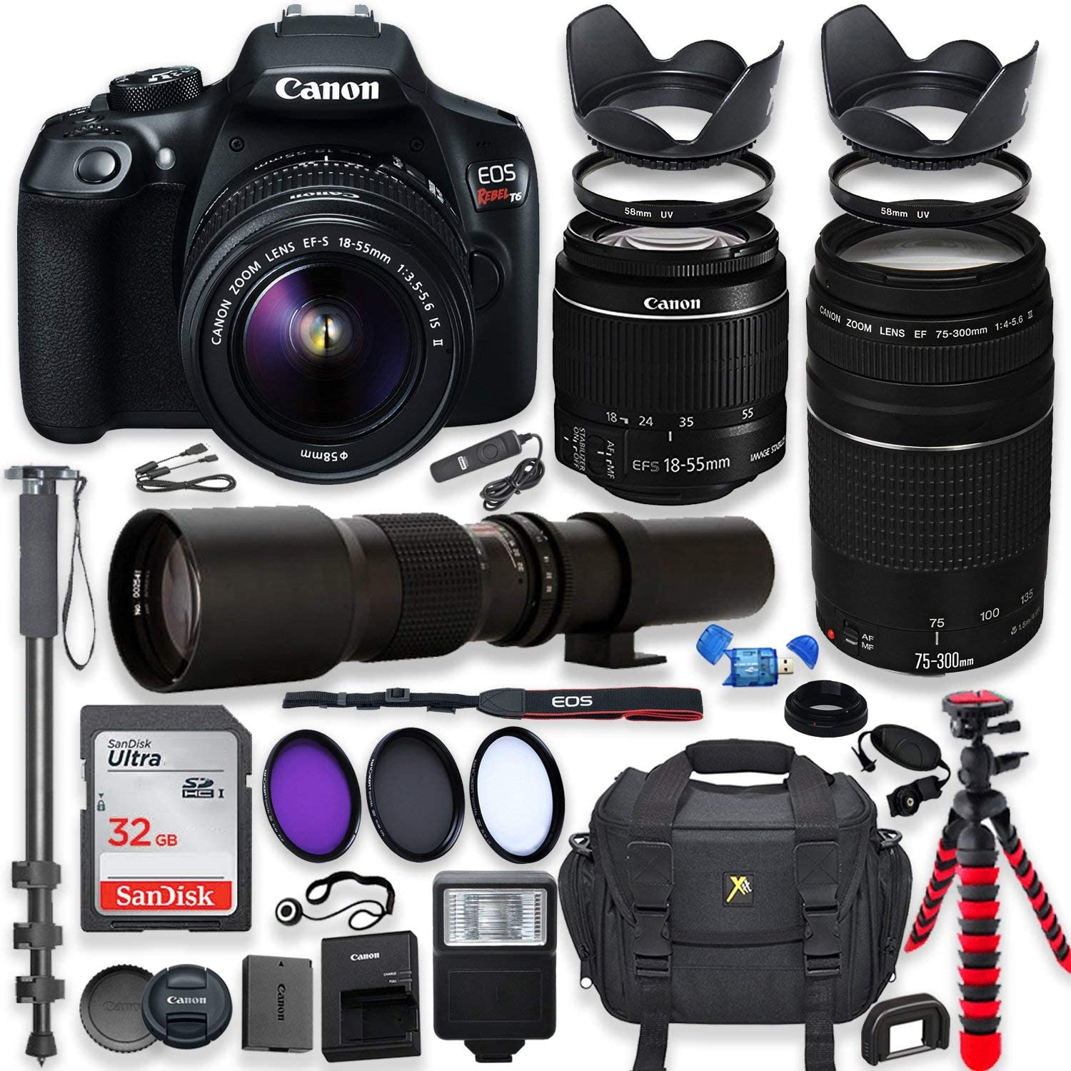 Canon EOS Rebel T6 DSLR Camera with 18-55mm is II Lens Bundle + Canon EF 75-300mm f/4-5.6 III Lens and 500mm Preset Lens + 32GB Memory + Filters + Monopod + Spider Tripod + Professional Bundle