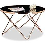 Relaxdays Table basse ronde COPPER en cuivre et verre noir table appoint ronde canapé HxlxP: 49 x 85 x 85 cm design moderne plateau en verre canapé salon original, couleur cuivré