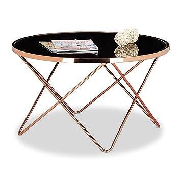 Relaxdays Table Basse Ronde Copper En Cuivre Et Verre Noir Table
