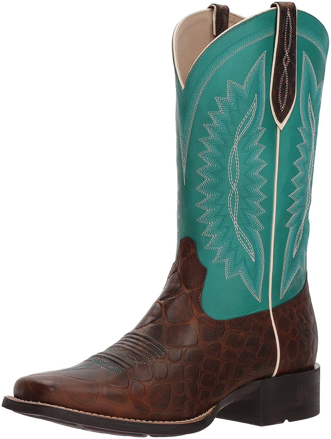Ariat Women's Quickdraw Legacy Western Boot B076MG3BJH 10 B(M) US|Brown Rowdy Crocodile Print/Naturally Turquoise