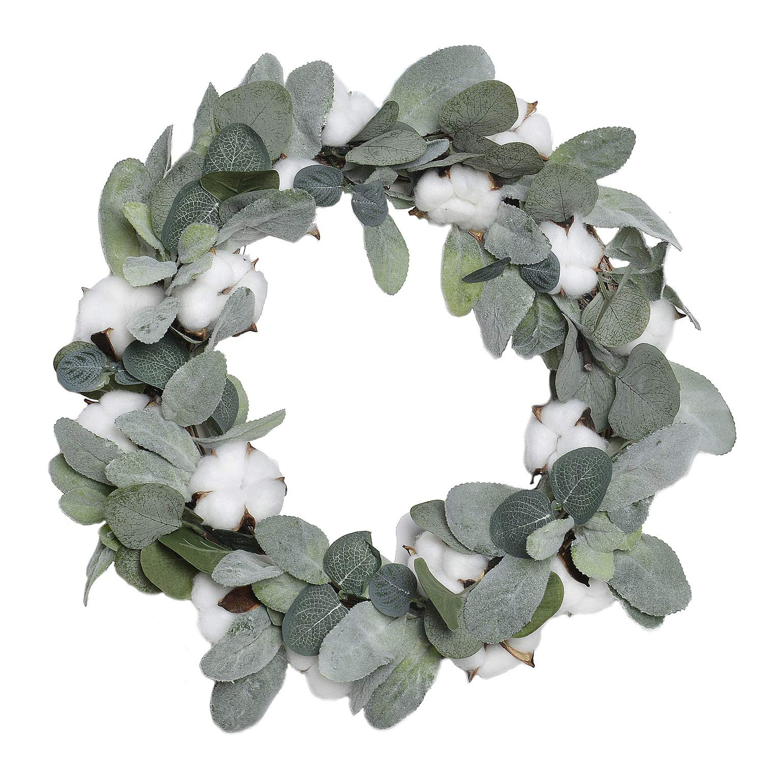 FAVOWREATH 2018 Vitality Series FAVO-W105 Handmade 14 inch Laurel/Eucalyptus Leaf,Cotton Grapevine Wreath for Summer/Fall Festival Front Door/Wall/Fireplace Every Day Nearly Natural Home Hanger Decor