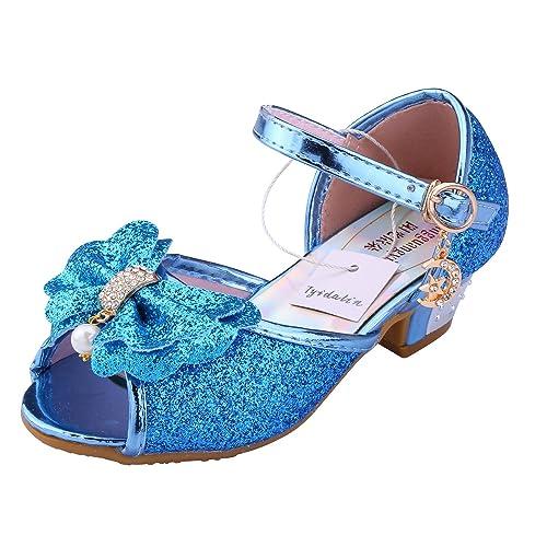 Sandales à Talon Enfant Filles Ballerines Princesse Chaussures Rose pour Déguisement Soirée Cérémonie Mariage jUeYt