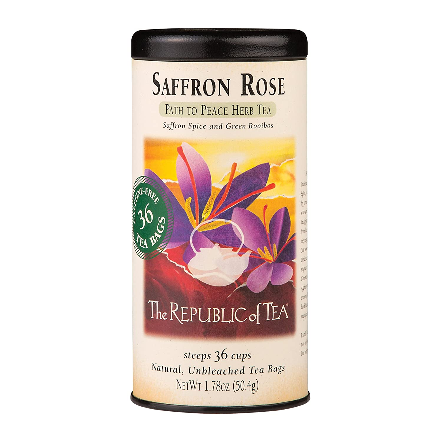 The Republic of Tea Saffron Rose Herbal Tea Bags, 36 Tea Bags