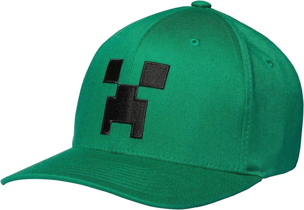 JINX Minecraft Creeper Face Flexfit Baseball Hat (Adult Fit) (Kelly Green 9ed97aab50