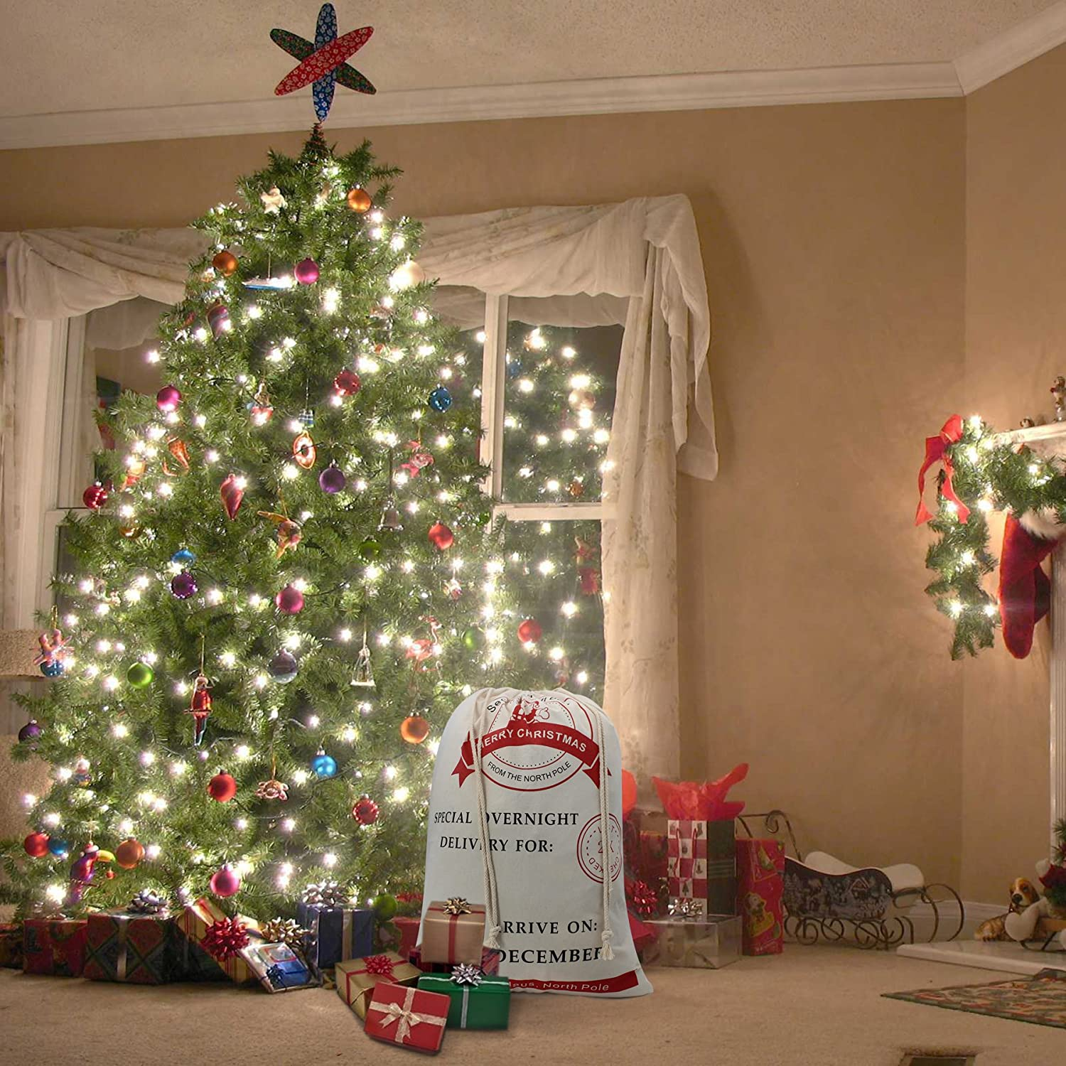 Amazon.com: Christmas Sack Reindeer Delivery Present Bags From North ...