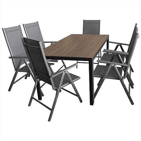 Gartenmöbel Terrassenmöbel Set Gartengarnitur Sitzgruppe Alu/Polywood  Gartentisch 150x90cm Brown Grey +