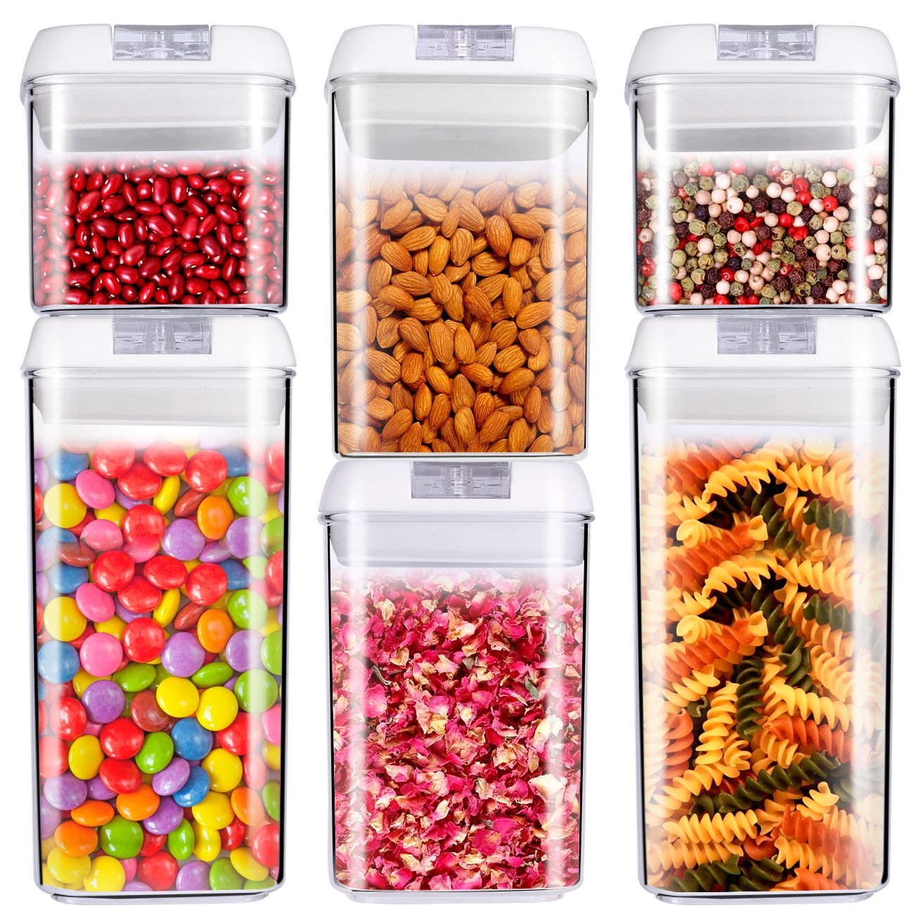 ME.FAN Air-Tight Food Storage Container Set - 6-Piece Set - Durable Plastic - BPA Free - Clear Containers with White Lids by ME.FAN