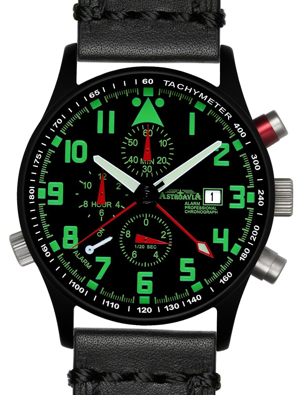 Astroavia Herren-Armbanduhr Alarm Chronograph Quarz Leder R44BL4
