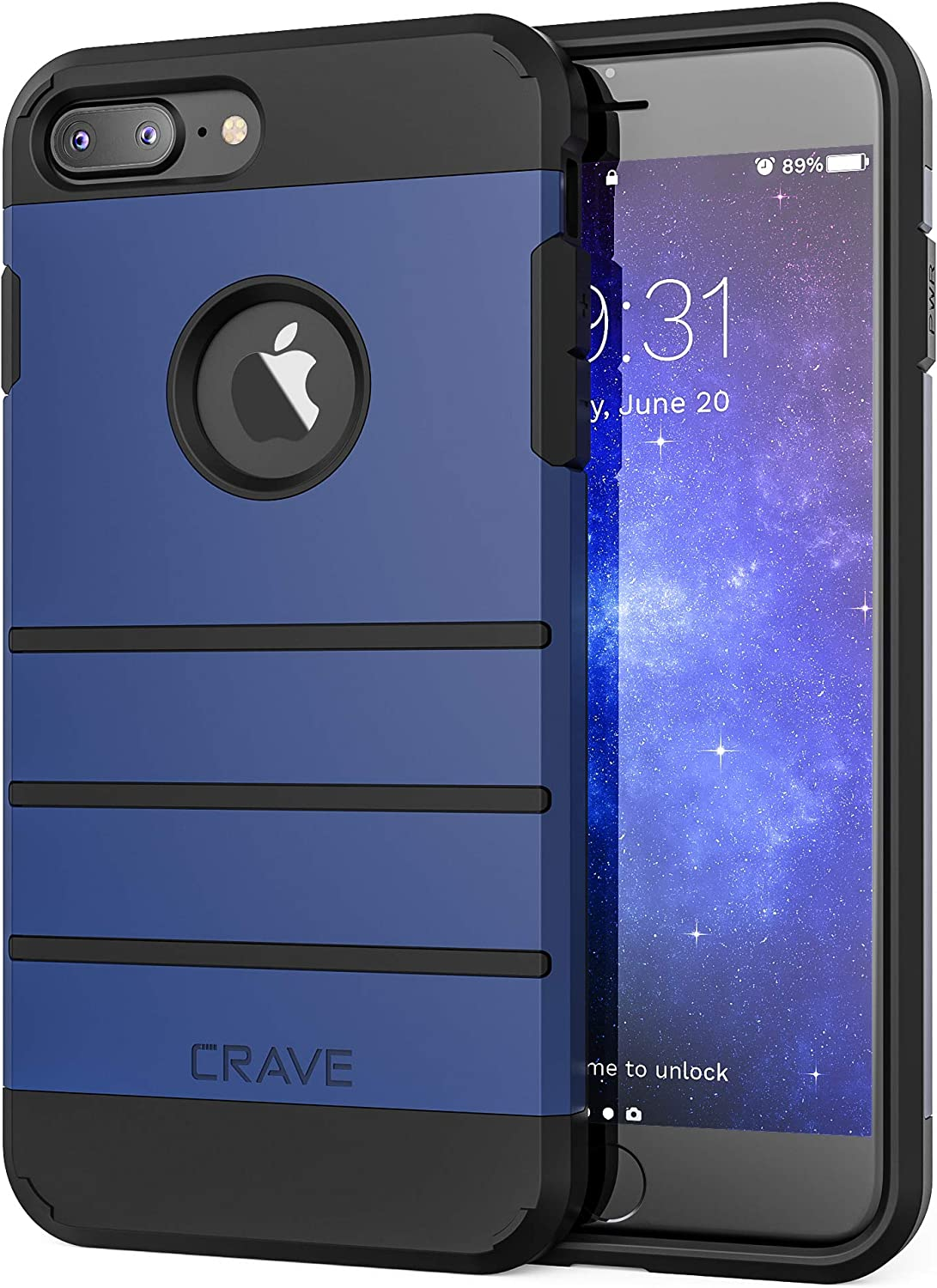 Crave iPhone 8 Plus Case, iPhone 7 Plus Case, Strong Guard Protection Series Case for Apple iPhone 8/7 Plus (5.5 Inch) - Navy