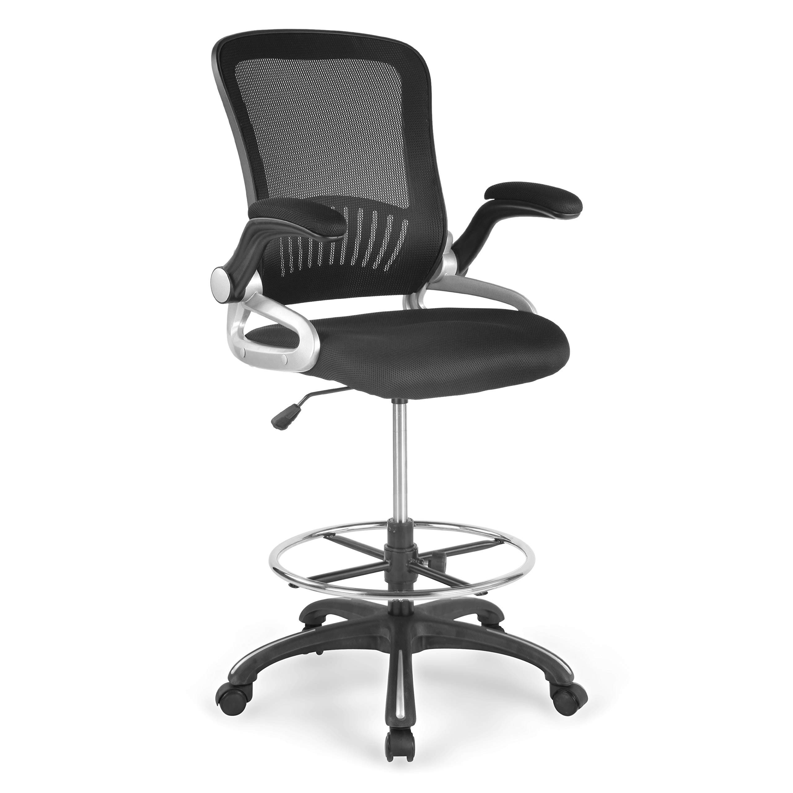 Poly and Bark Hargrove Drafting Chair in Mesh, Black by POLY & BARK