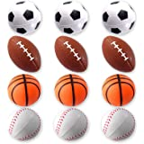 Mini Sports Balls for Kids Party Favor Toy, Soccer Ball, Basketball, Football, Baseball (12 Pack) Squeeze Foam for…