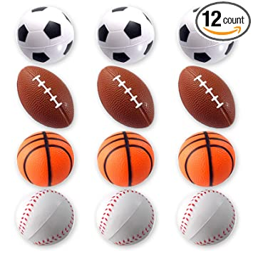 963d3702107e6 Mini Sports Balls for Kids Party Favor Toy, Soccer Ball, Basketball,  Football, Baseball (12 Pack) Squeeze Foam for Stress, Anxiety Relief,  Relaxation.