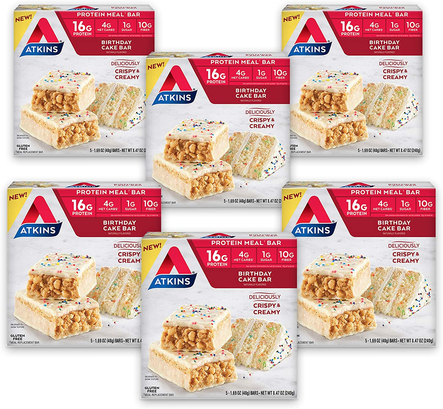 Atkins Birthday Cake Protein Meal Bar. Crispy & Creamy with Real Almond Butter. Keto-Friendly. (30 Bars)