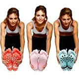 Super Grip Yoga Toe Socks – 3 Pack - Active Socks for Pilates & Pure Barre - Non Slip Superior Grips for Women's & Girls