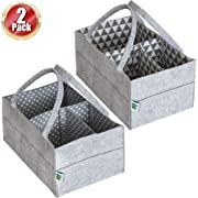Baby Diaper Caddy Organizer Set of 2 – Nursery Basket with Handles – Baby Diaper Storage and Changing Table Organizer 2-Pack Perfect Baby Shower Gift Basket for Newborn Girls and Boys by Cartik-2pack