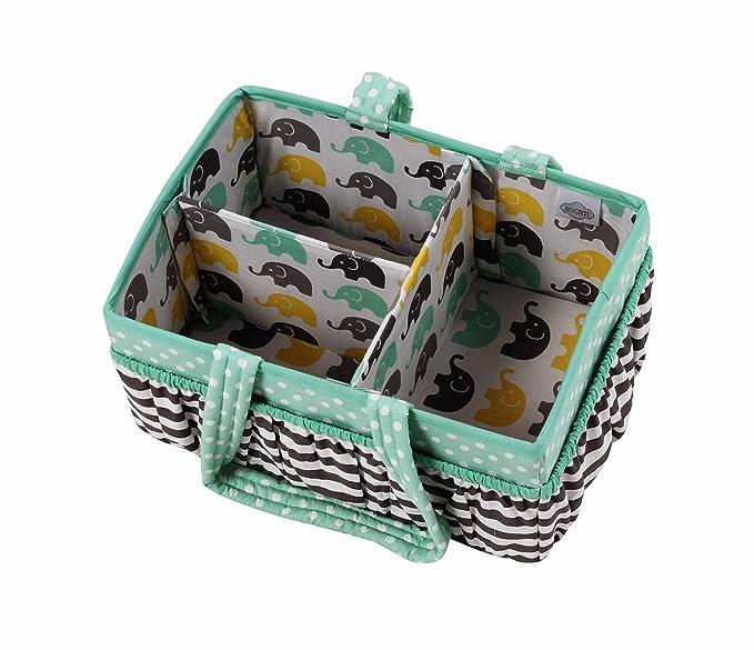 Grey Bacati Arrows Nursery Fabric Storage Caddy with Handles