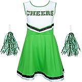 REDSTAR FANCY DRESS Damen Cheerleader Kostüm Outfit mit Pom Poms Halloween Kostüm American High School Musical Sport Verfügbar in den Größen 6-16 and 6 Farben