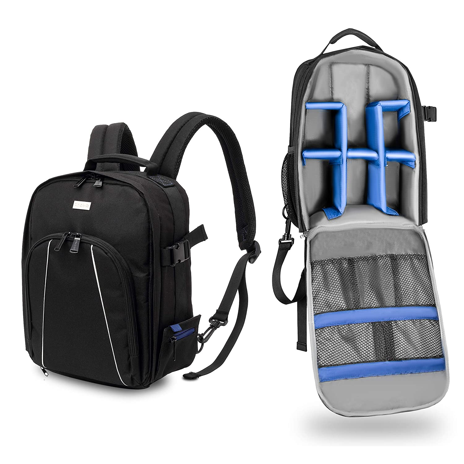 Phot-R Camera Backpack with Tripod Strap Holder, 34x26x17cm Water & Shock Resistant Padded Dividers Inserts & Rain Cover