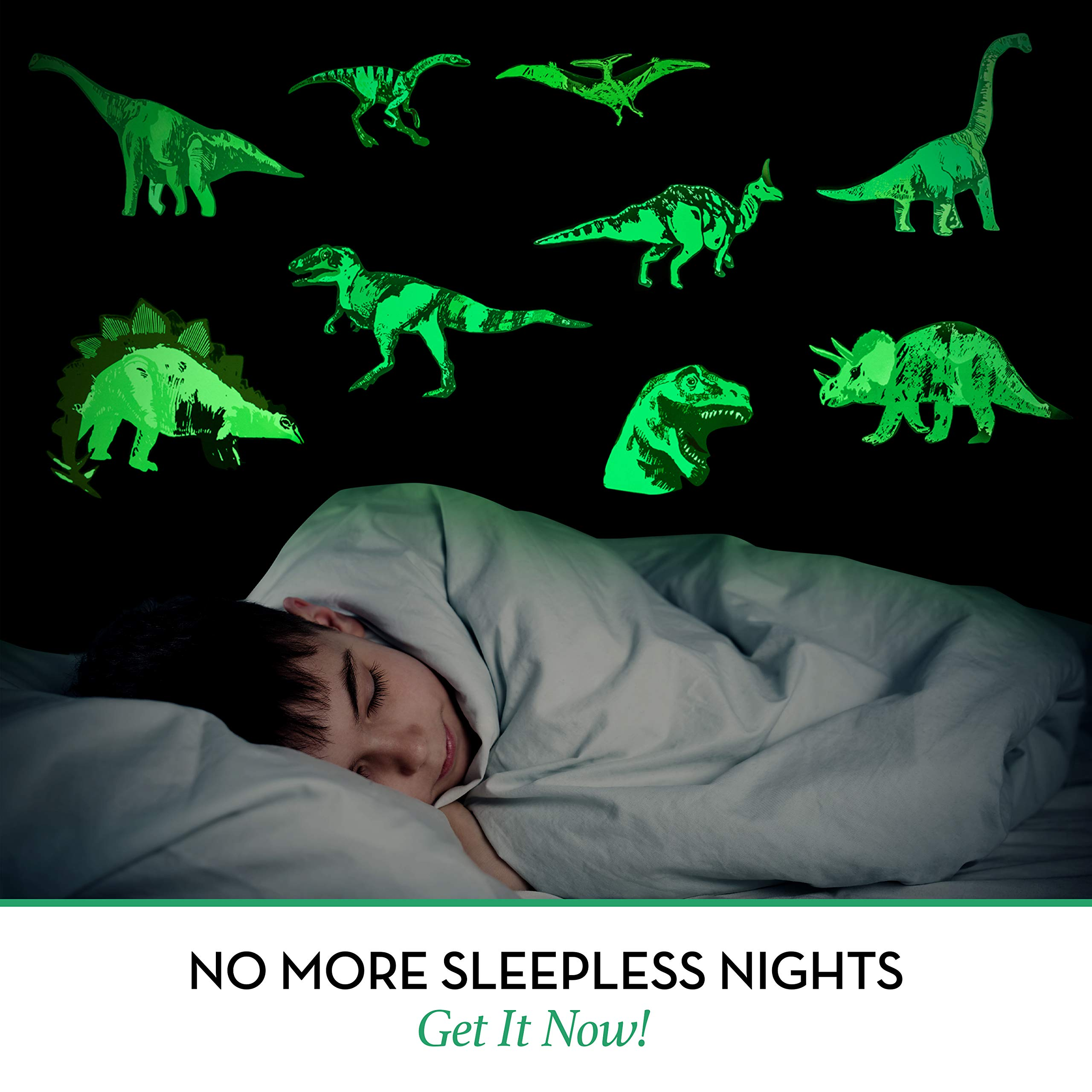 Glow in The Dark Dinosaur Wall Stickers Decorative Decals for Kids Teens Adults Bedroom, Living Room, Classroom - Creative Gift for Boys and Girls.