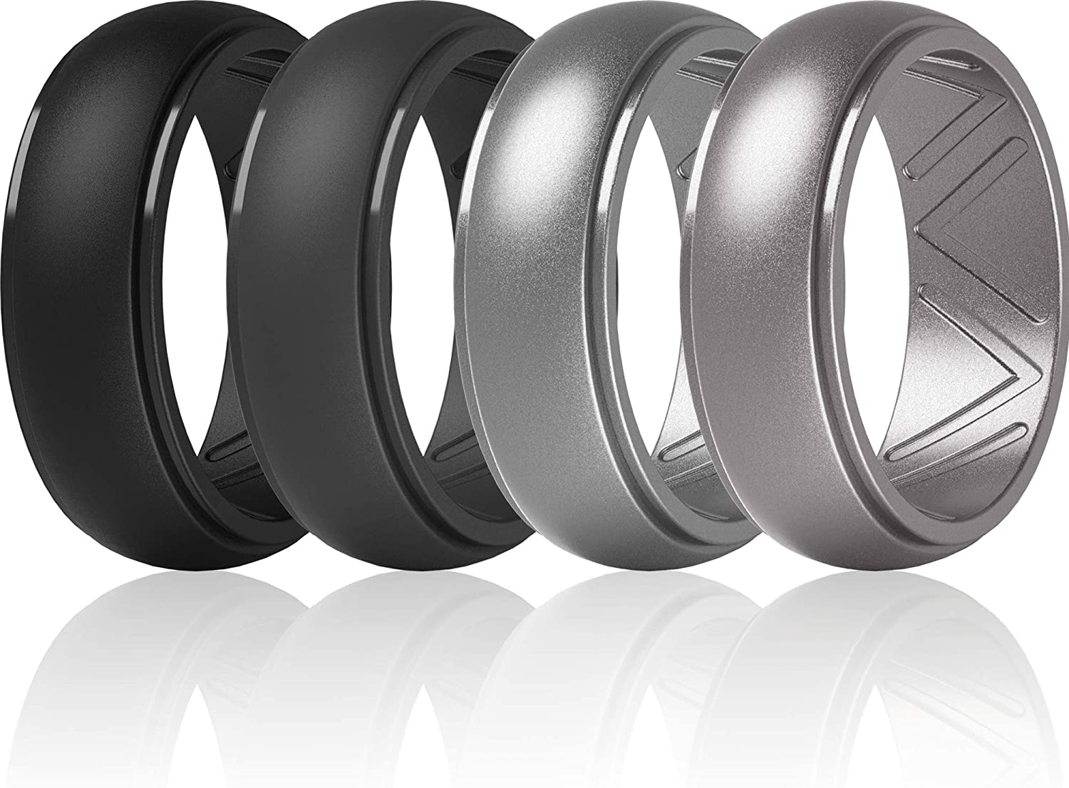 Step Edge Airflow Inner Grooves 2.5mm Thick ThunderFit Silicone Wedding Rings for Men 8.7mm Width