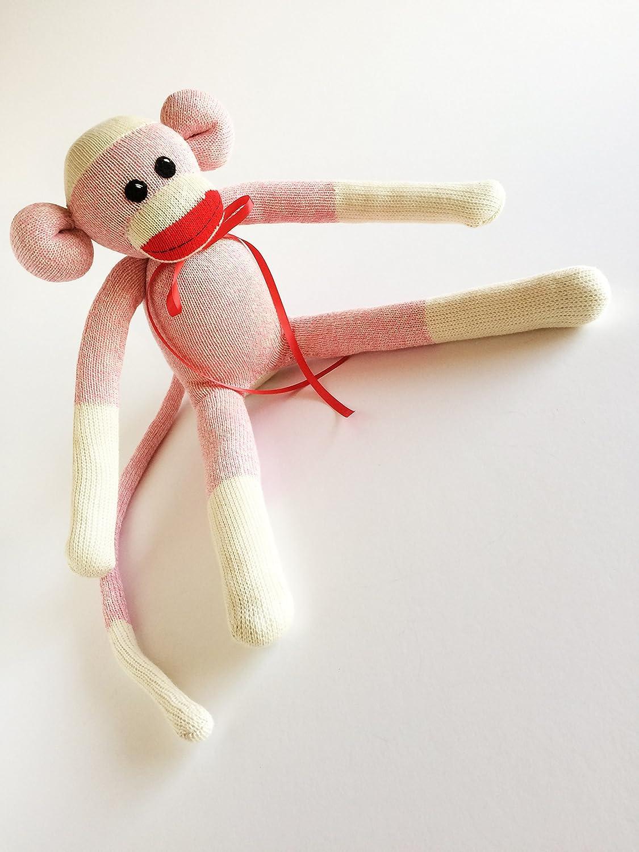 Large Pink Rockford Red Heel Sock Monkey