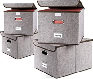 Prandom File Organizer Boxes - Set of 4 Collapsible Decorative Linen Filing Storage Hanging File Folders with Lids Office Cabinet Letter Size (15x12.2x10.75 inch)