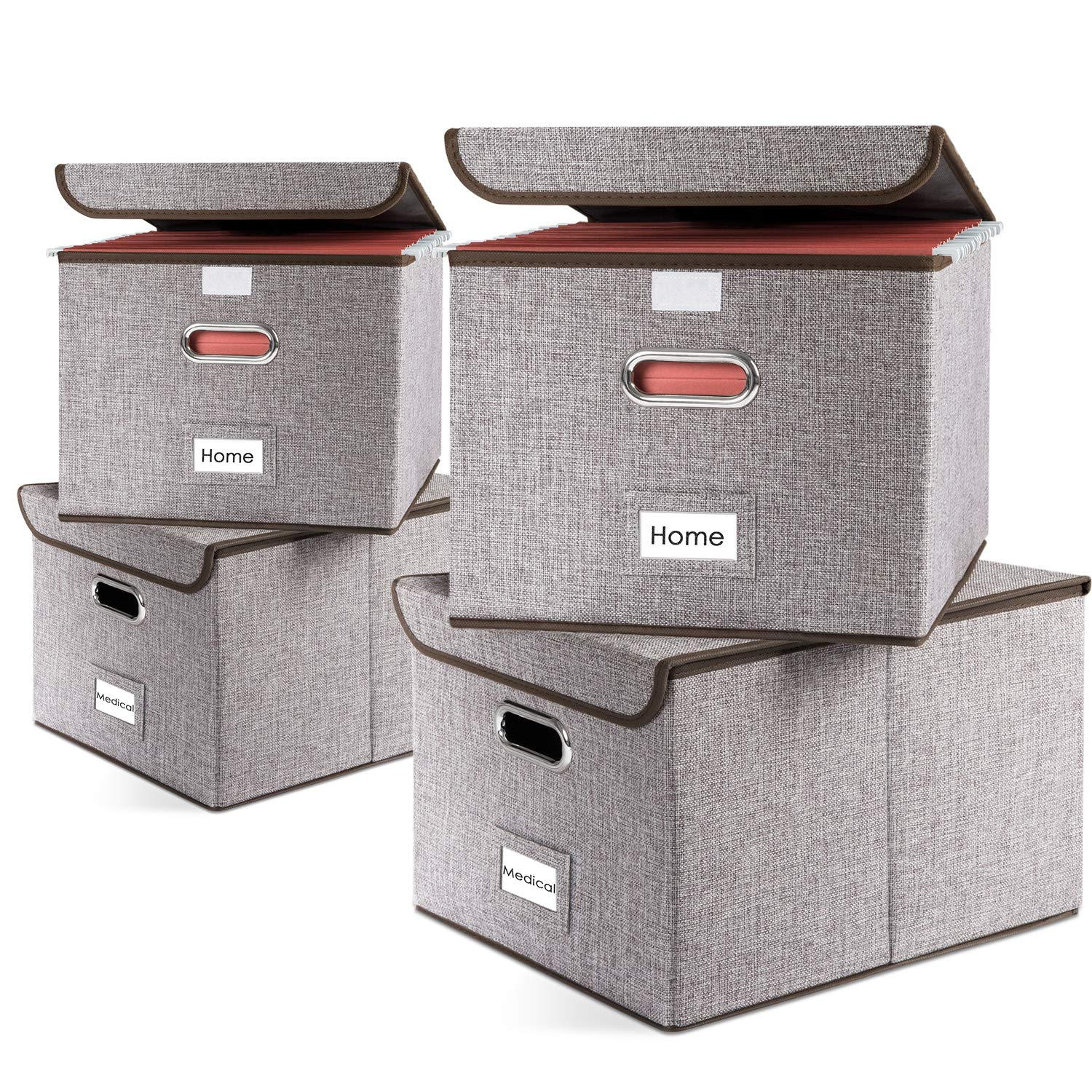 Prandom File Organizer Boxes Set of 4 Collapsible Decorative Linen Storage Hanging Filing Folders with Lids Office Letter Size Gray by Prandom
