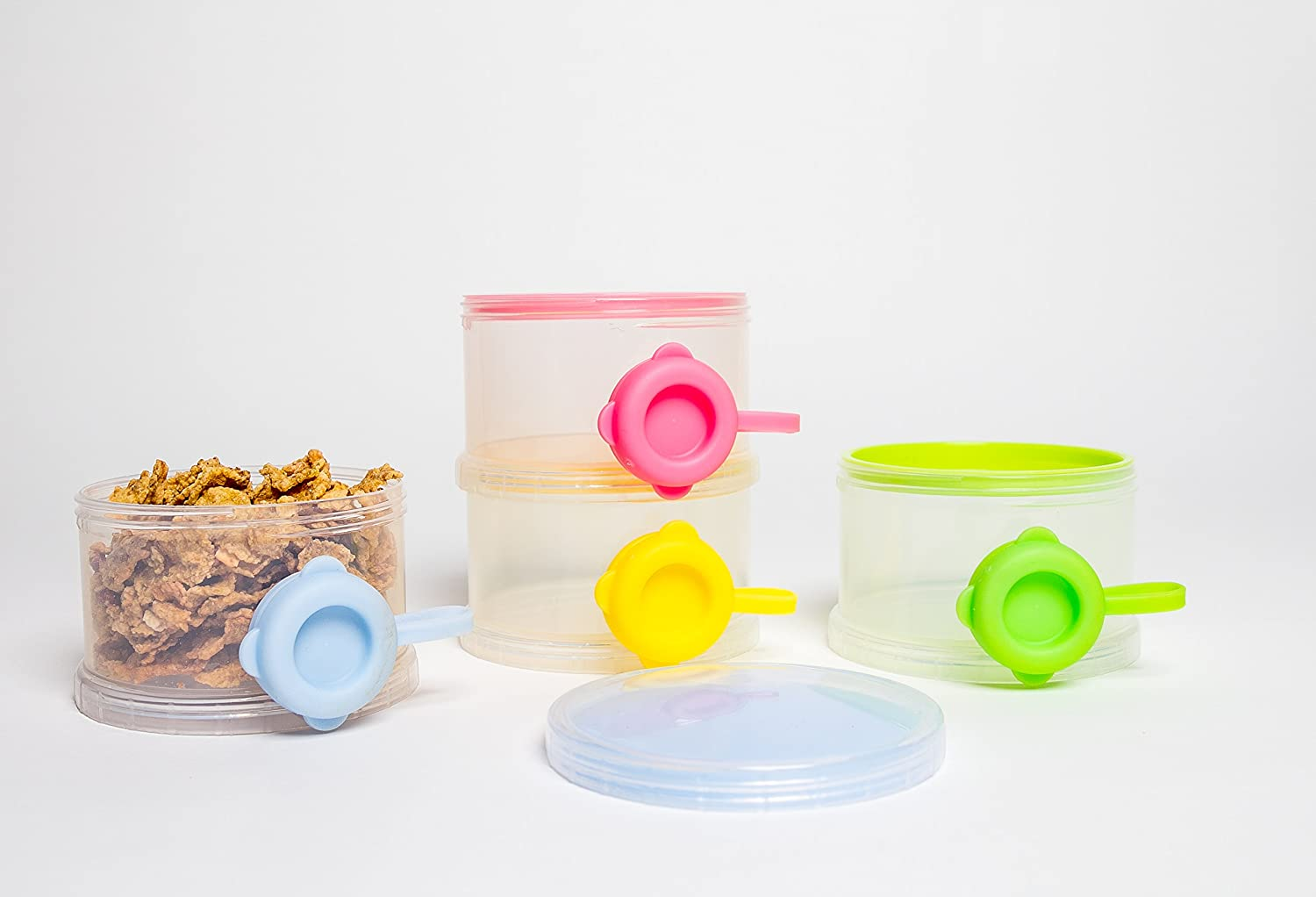 OceanBaby 4 Twist Lock Stackable Container Non Spill Baby Formula Dispenser 1 Pack extra lids