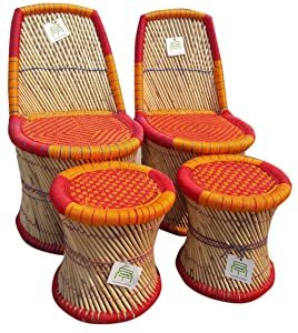 Ecowoodies Helianthus Eco Friendly Handicraft Cane Sitting Stool Chair Cane Furniture Set ( 2 Chair+2 Stool)