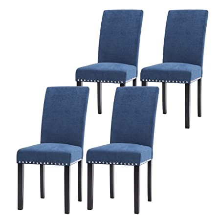 LSSPAID Dining Chair Set of 4 Fabric Padded Side Chair with Solid Wood Legs, Nailed Trim Blue