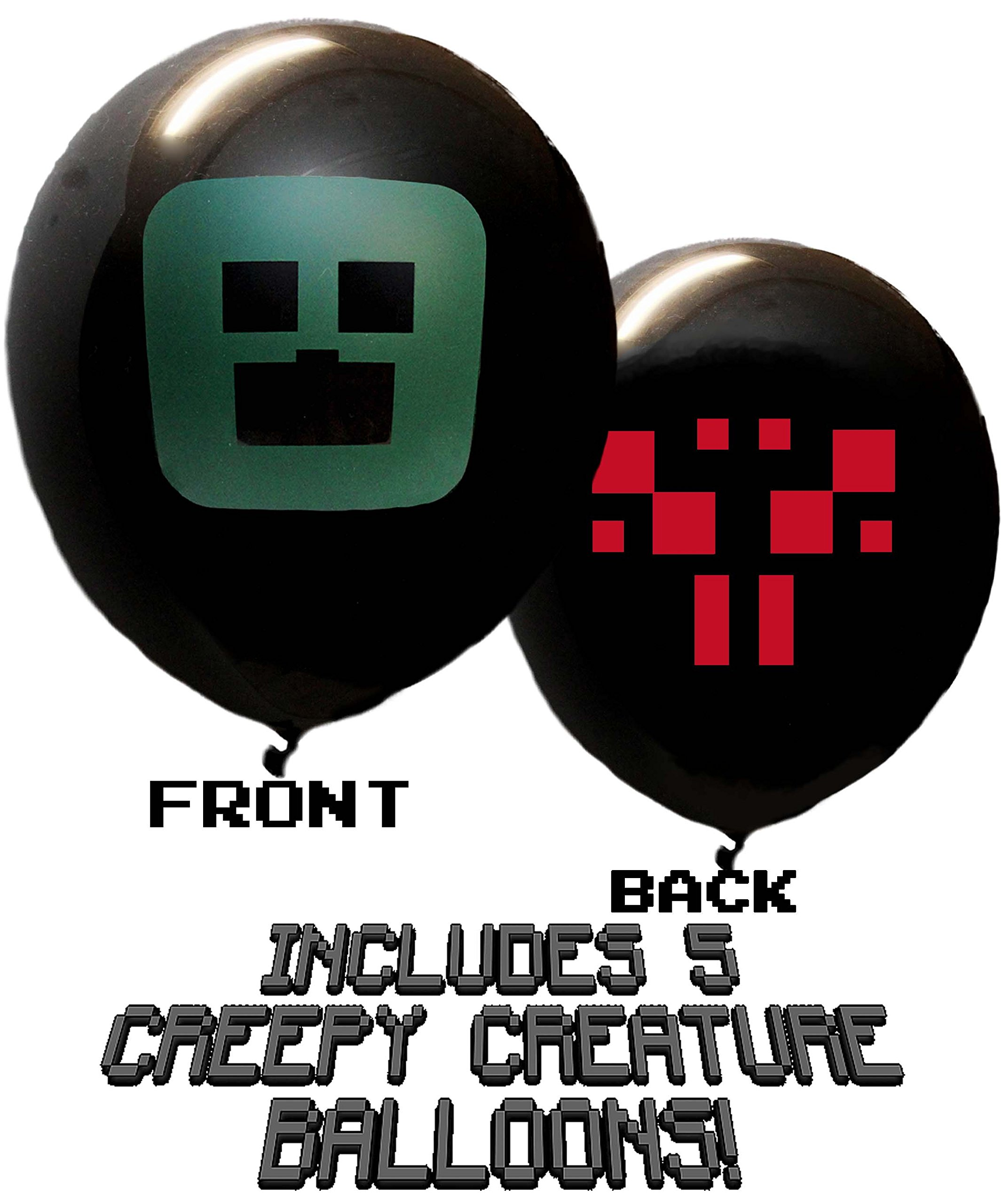 25 Pixel Style Miner Party Balloon Pack - Large 12'' Latex Balloons by Jade's Party Packs (Image #3)