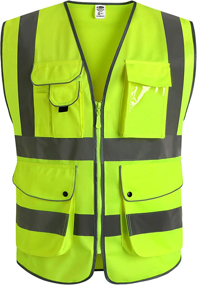 JKSafety 9 Pockets Class 2 High Visibility Zipper Front Safety Vest With Reflective Strips, Yellow Meets ANSI/ISEA Standards (Large)