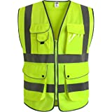 JKSafety 9 Pockets Class 2 High Visibility Zipper Front Safety Vest With Reflective Strips, Yellow Meets ANSI/ISEA…