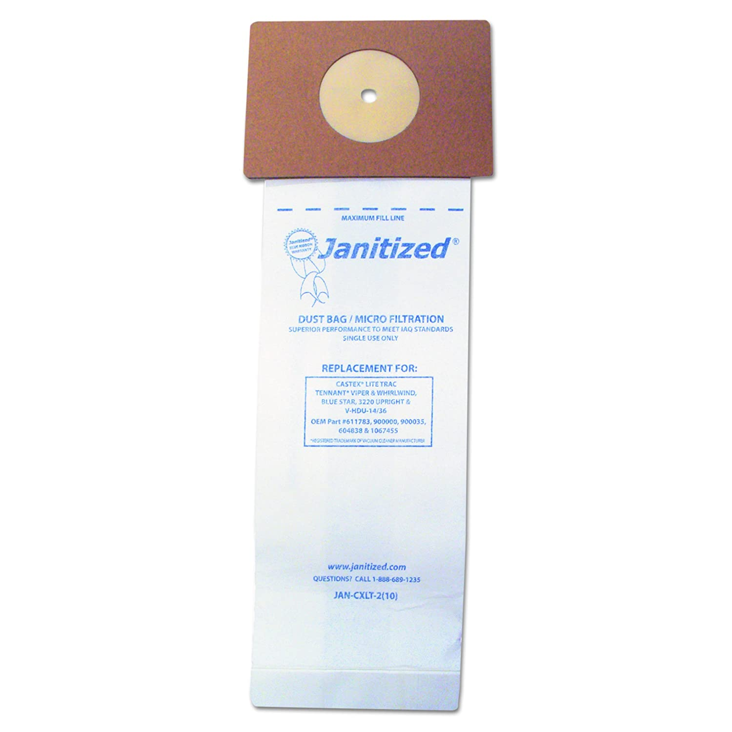 Janitized JANCXLT2 Vacuum Filter Bags Designed to Fit Nobles Lite Trac/Tennant Viper (Case of 100)