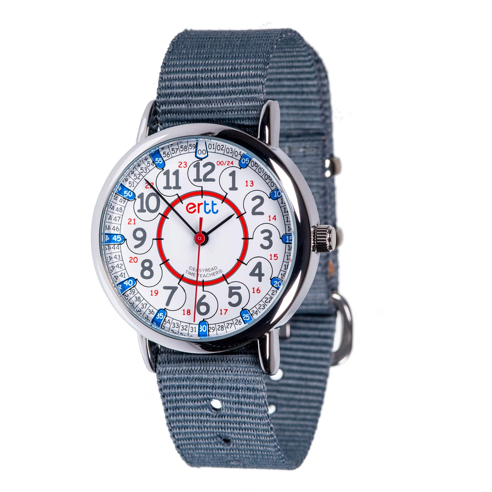 EasyRead Time Teacher Children's Watch, Red Blue 12/24 Hour Face, Grey Strap by EasyRead Time Teacher