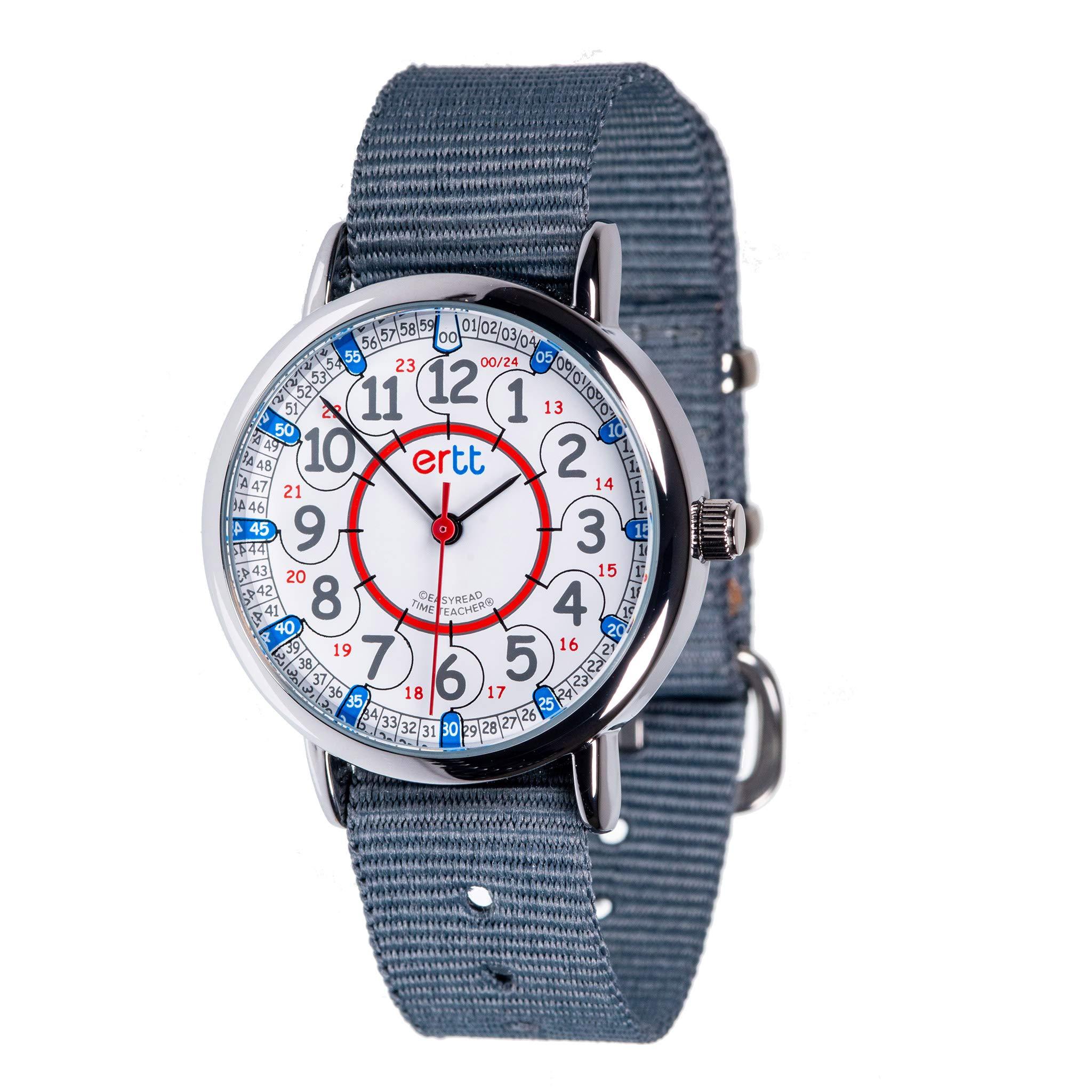 EasyRead Time Teacher Children's Watch, Red Blue 12/24 Hour Face, Grey Strap by EasyRead Time Teacher (Image #1)