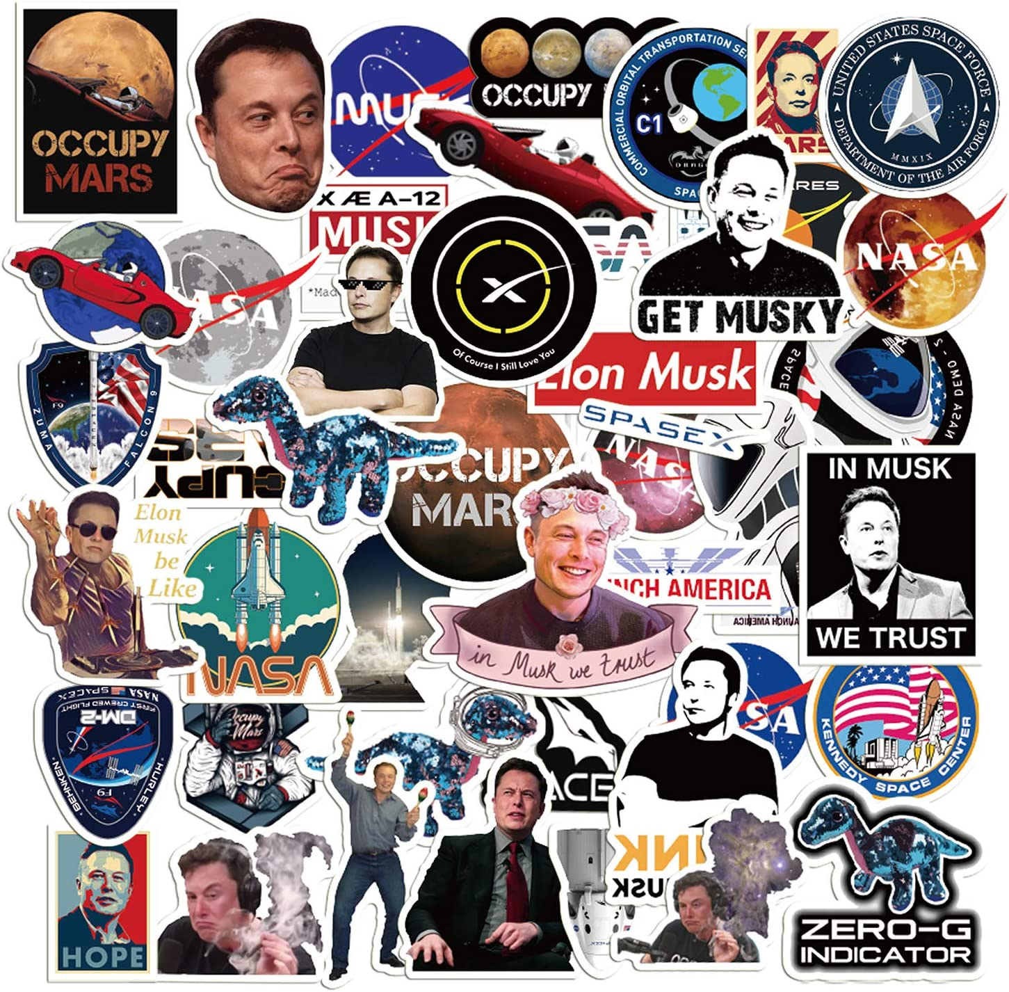 50Pack Space X Stickers Themed Elon Musk Stickers Party Supplies Corona Waterproof Aesthetic Cartoon Sticker for Water Bottle Laptop Phone Case Pen Holder