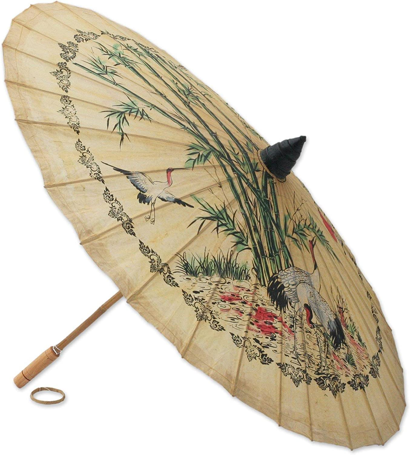 NOVICA Bird and Flower Saa Paper and Bamboo Parasol 'Crane Morning'
