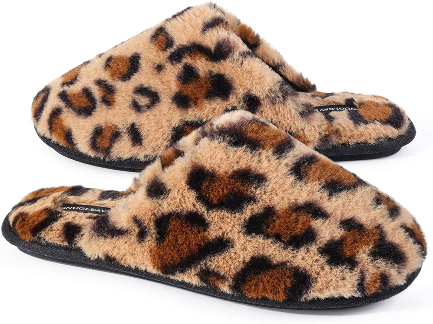 Snug Leaves Women's Fuzzy Memory Foam House Slip on Slippers with Furry Faux Fur Lined Bedroom Shoes