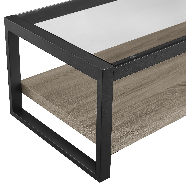 "Walker Edison WE Furniture 48/"" Rustic Wood Glass Coffee Table-Driftwood"