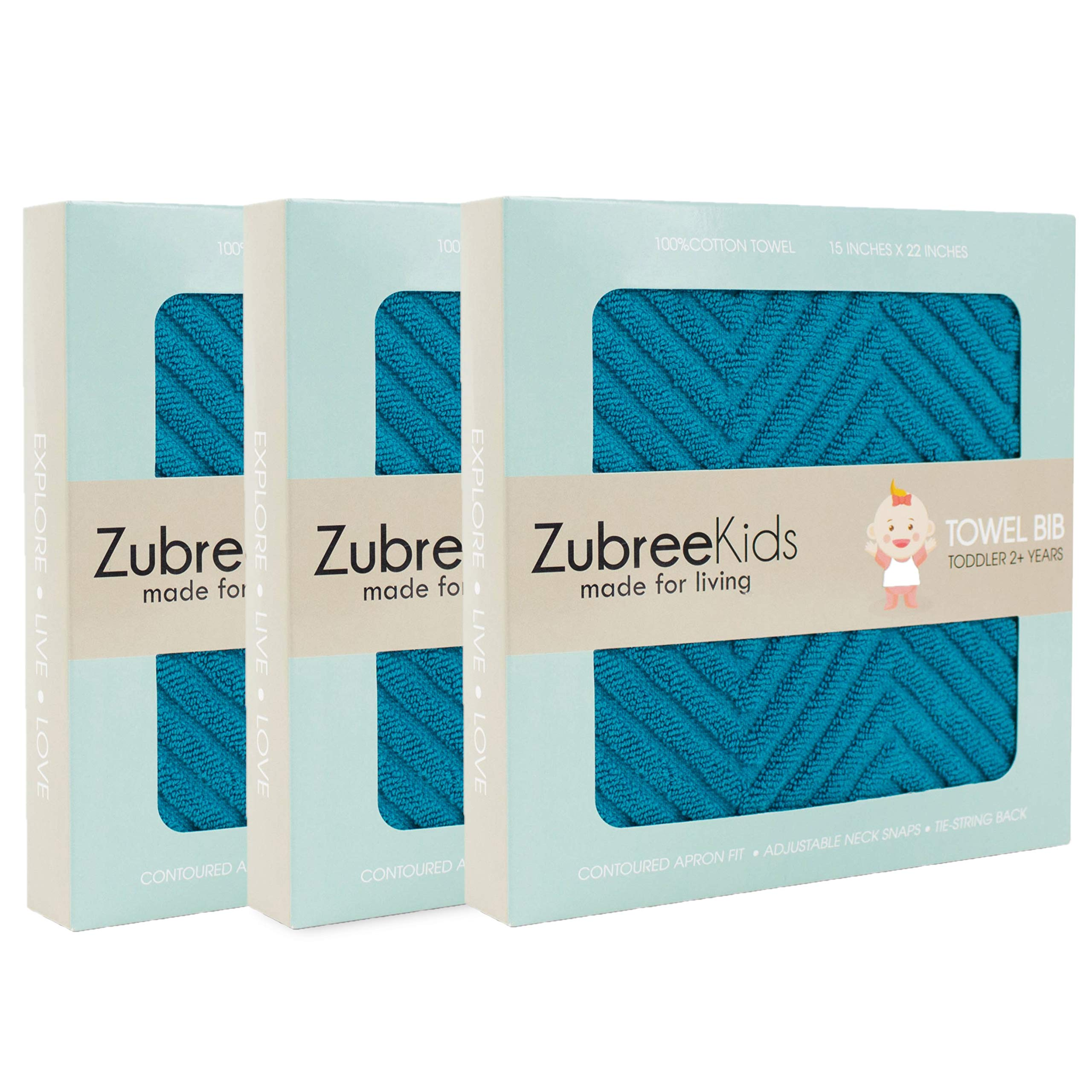 Zubree Toddler Bib 3 Pack - Thick as a Hand Towel, Ultra-Absorbent Cotton, Comfortable, Large Coverage, Tug-Proof Snaps (18mo-5y) (3)