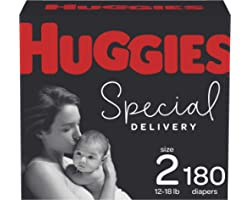Diapers Size 2 - Huggies Special Delivery Hypoallergenic Disposable Baby Diapers, 180ct, One Month Supply
