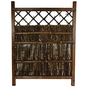 Oriental Furniture Japanese Dark Stain Wood & Bamboo Garden Gate