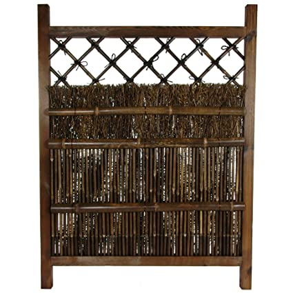 Oriental Furniture Japanese Dark Stain Wood U0026 Bamboo Garden Gate