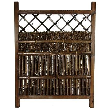 Oriental Furniture Japanese Dark Stain Wood & Bamboo Garden Gate