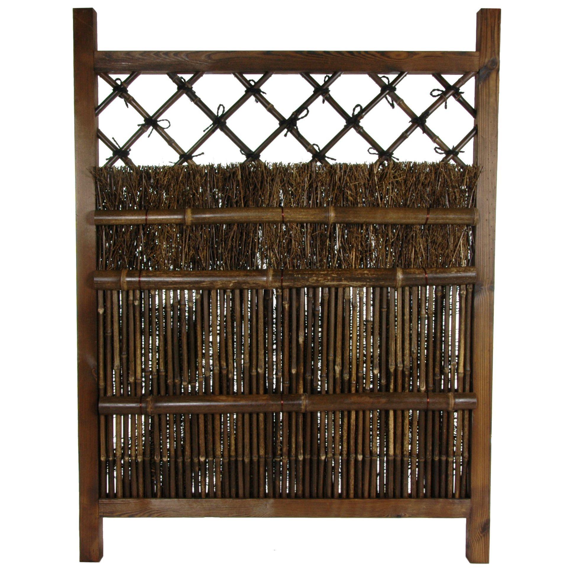 Oriental Furniture Japanese Dark Stain Wood Bamboo Garden Gate ...