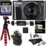 Canon PowerShot SX720 HS (Black) Camera, Camera Case, Lexar 16GB UHS, Memory Card Wallet, Ritz Gear Tripod, Cleaning Kit, Card Reader / Writer, Polaroid Screen Protector & Accessory Bundle