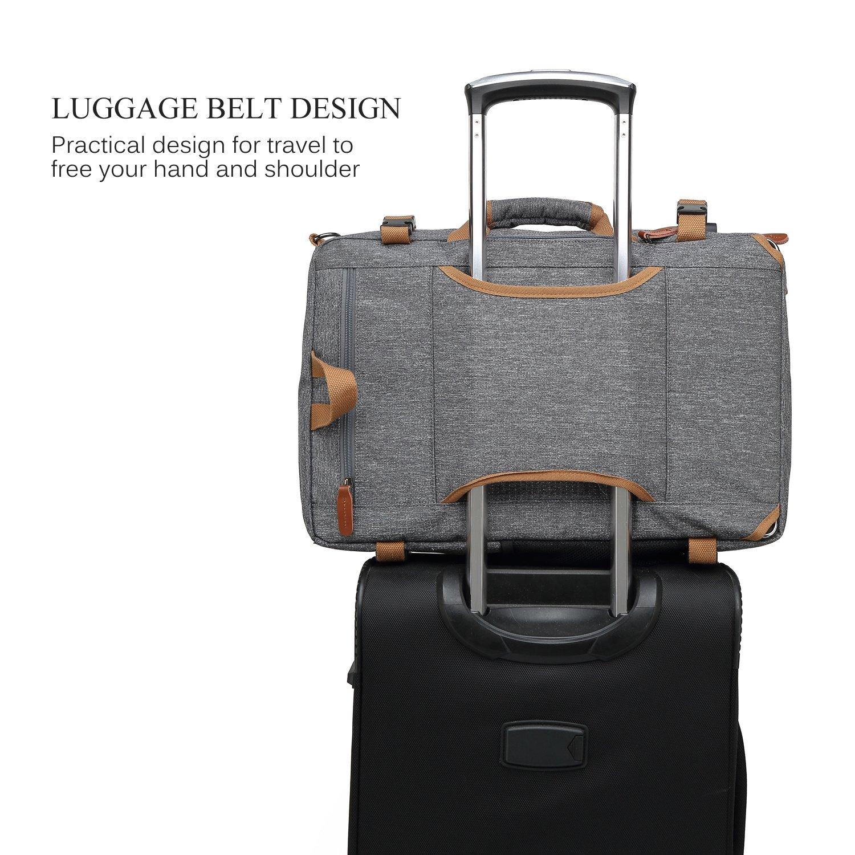 CoolBELL Convertible Briefcase Backpack Messenger Bag Shoulder bag Laptop Case Business Briefcase Travel Rucksack Multi-functional Handbag Fits 17.3 Inch Laptop For Men/Women (Grey) by CoolBELL (Image #6)