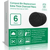 """2 Years Supply Extra Thick Universal Size Activated Charcoal Kitchen Compost Bin Filters - Fits ALL Compost Bins up to 7.25"""" Filter Size - Replacement Odor Filters Set of 6 (by Simply Carbon)"""